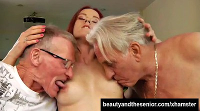 Old young, Threesome blowjob, Granny and young