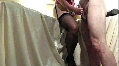 Stocking, Big clit, Cum on feet