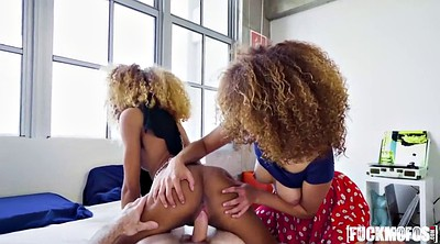 Amateur threesome, Interracial teen