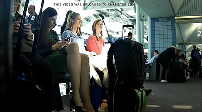 Candid, Nylon feet, Nylon foot, Airport