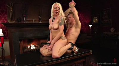 Mistress, Mistress handjob, Ride, Full, Ball handjob, Blond slave