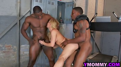 Mommy, Blonde, Interracial threesome, Mommy handjob, Black tits