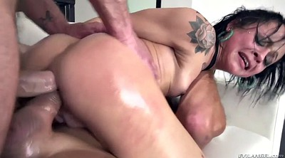 Big tit threesome, Anal squirting, Squirting threesome, Huge cock anal