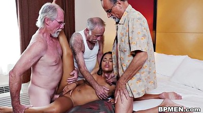 Grandpa, Old grandpa, Granny threesome, Beach sex