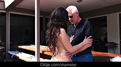 Swallow, Step sister, Old grandpa, Cum swallow
