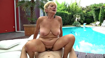 Mature granny, Hairy blonde