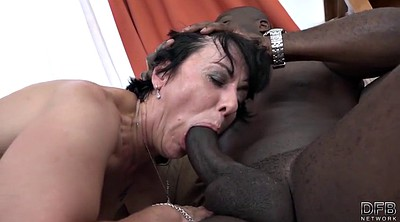 Granny threesome, Black cock, Granny interracial