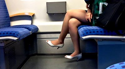 Toes, Nylon foot, Peeping, Training, Peep, In train