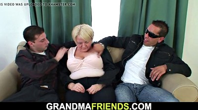 Old young threesome, Mature double
