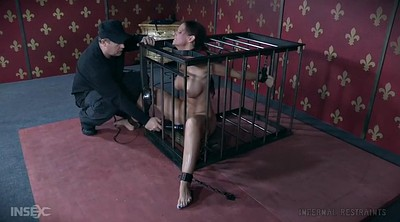 Gagging, Blindfold, Mature whore, Cage