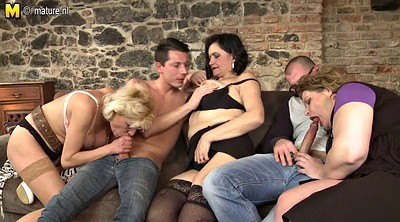 Fuck mom, Young guy, Two moms, Granny group, Two milfs, Old guy