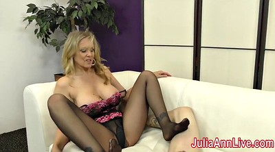 Julia ann, Stocking footjob, Julia, Cum on foot, Anne