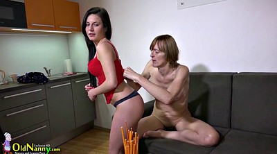 Shower, Granny lesbian, Old lady, Mature and young lesbian