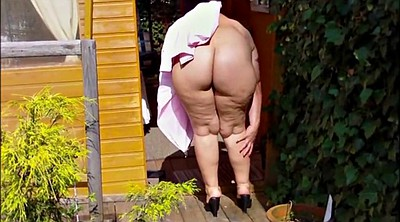 German mature, German granny, Granny outdoor, Bottomless