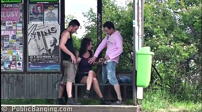 Public, Threesome sex, Big tits group