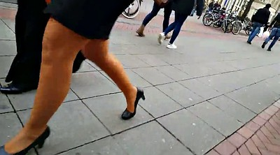 Skirt, Walking, Pantyhose fetish, Pantyhose leg