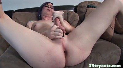 Casting, Close up, Shemale solo, Stroking
