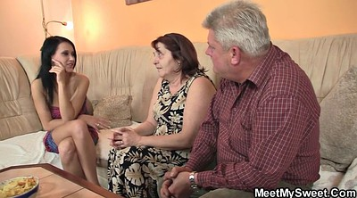 Granny threesome, Riding mature, Old and young threesome