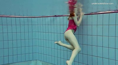 Pool, Underwater, Swimming, Swim, Redhead teen