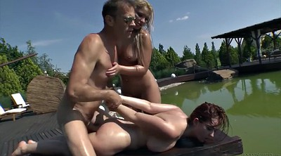 Oil, Double anal, Mmf, Double blowjob, Mmf threesome