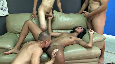Long hair, Interracial gangbang