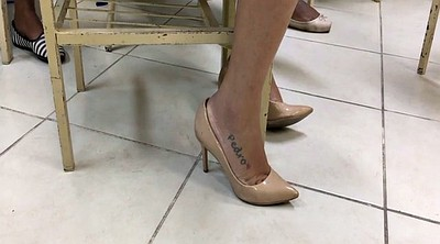 Milf feet, High heels, Dangling, Tatoo, High heeled, Candid foot