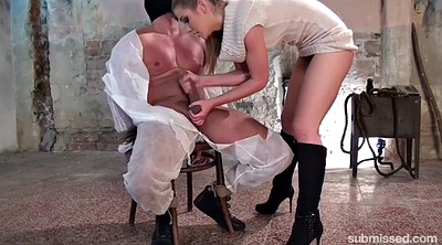 Tied up, Jerking off, Femdom cumshot, Chair
