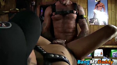 Muscle, Leather, Hand, Rubbing cock