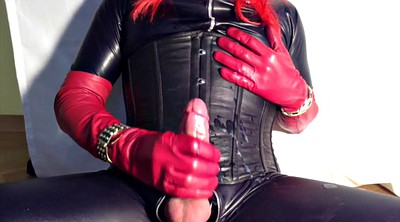 Crossdresser, Gloves, Gloved, Shemale latex, Latex shemale, Latex glove