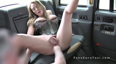 Car, Taxi, In public, Fake tits