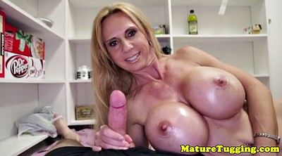 Mature big tits, Jerking, Mature handjob