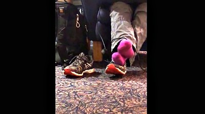 Footing, Candid, Library, Socking, Socks feet