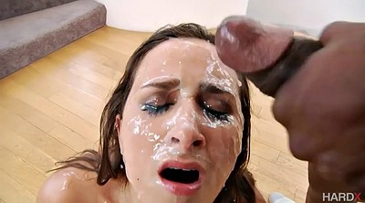 Cum in mouth, White on black, Cum in, Cum tits, Cum in her mouth