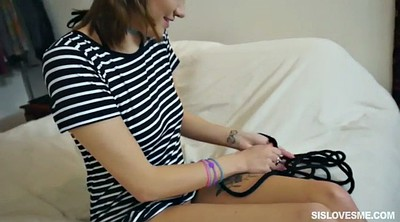 Tied up, Stepbro, Teen pussy, Riley, Tied orgasm, Tied to bed