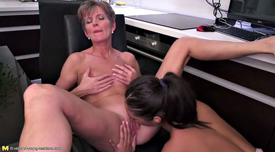 Kitchen, Kitchen mom, Mom and daughter, Old and young lesbian, Mom fucking