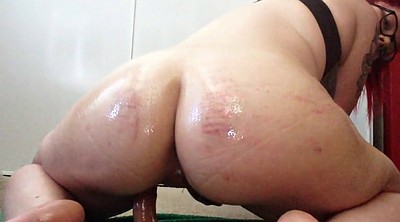 Bbw, Oil, Big booty, Dildo ride