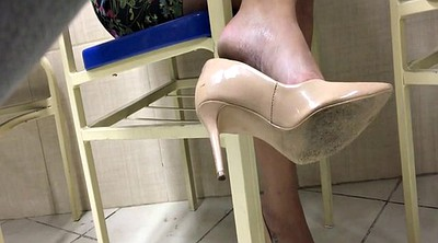 High heels, Foot fetish, Dangling, Candid