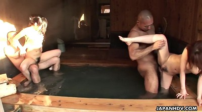 Sauna, Japanese handjob, Japanese hairy, Japanese ass licking, Slim, Japanese slim
