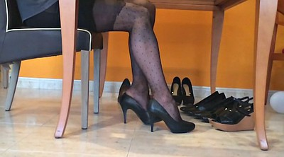 Nylon, Black foot, Foot fetish, Nylon foot