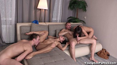 Teen kissing, Girlfriend, Shaving, Two couple, Two, Foursome kissing