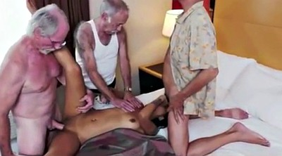 Tattoo, Old woman, Old men, Granny threesome