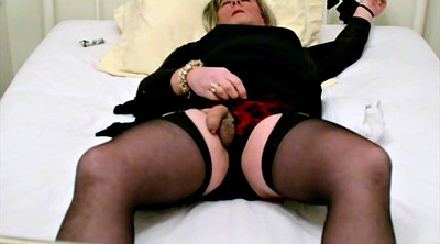 Stockings, Cum in, Cumming, Self, Bondage cum, Black stockings