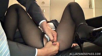 Office, Pantyhose fuck, Asian office, Clothed fuck