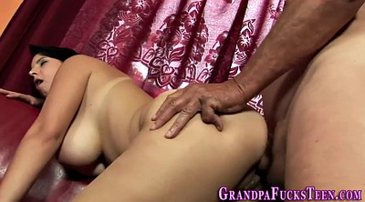 Old granny, Teen licking
