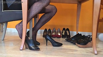 Black foot, Pantyhose foot, Nylon heels, Dangling