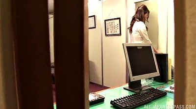 Boss, Long hair, Pantyhose handjob, Asian office, Asian pantyhose