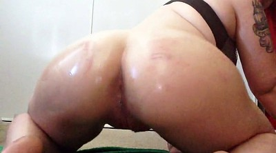 Oil, Booty, Ride dildo, Oil dildo, Bbw pee