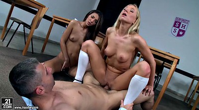 Teacher threesome, Schoolgirl