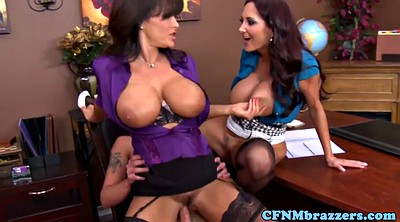 Lisa ann, Busty milf, Mature threesome, Mature blowjob