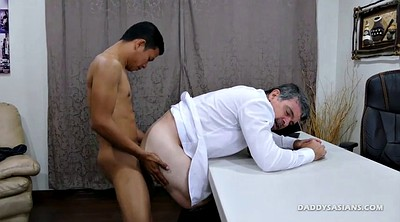 Kissing, Young boy, Old couple, Asian daddy, Asian young, Asian office